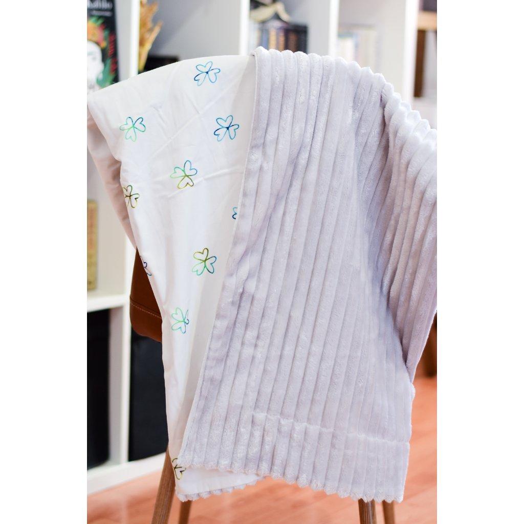Velká oboustranná deka - Modrý čtyřlístek na šedé