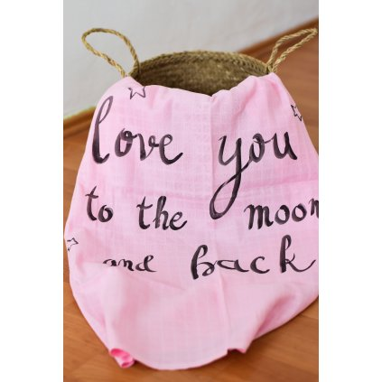 Osuška růžová - Love you to the moon and back