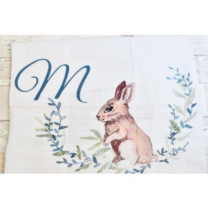 Látková plenka Zajíček - monogram M